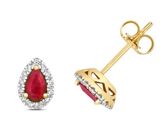 9ct Yellow Gold 5x3mm Pear Cut Ruby Stud Earrings 0.07ct Pave Diamond - Real 9K Gold