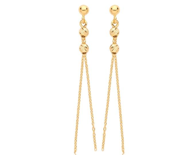 9ct Yellow Gold Beaded Tassel Chain 4cm Drop Earrings