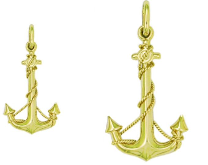 9ct Yellow Gold Nautical Anchor & Rope Charm Pendant - 1.8cm 2.5cm 3.5cm - Real 9K Gold