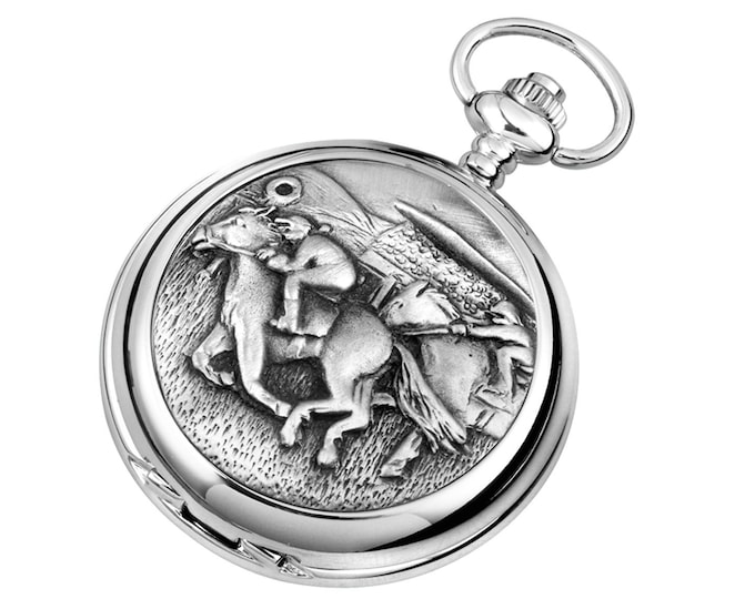 Horse Racing Personalised Chrome & Pewter Pocket Watch - Customised Engraved Message