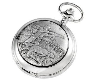 Hunting Scene Personalised Chrome & Pewter Pocket Watch - Customised Engraved Message