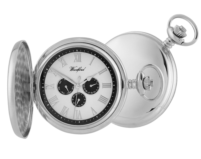 Chrome Quartz Date Display Full Hunter Pocket Watch - Personalised Engraved Message