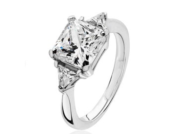Rhodium Plated 925 Sterling Silver Claw Set Asscher & Trillion Cut 3 Stone Cz Engagement Ring