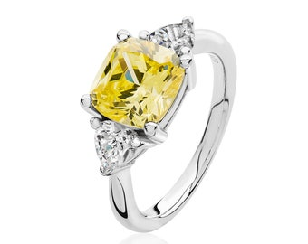 Rhodium Plated 925 Sterling Silver Claw Set Yellow Cushion & Heart Cut cz Engagement Ring