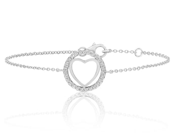 "925 Sterling Silver Circle of Life Cz 7"" Heart Bracelet Rhodium Plated"