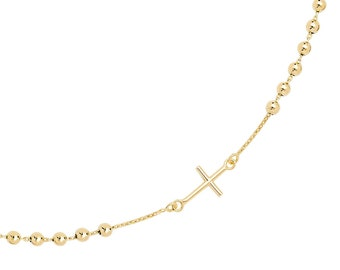 "9ct Yellow Gold 16"" Lightweight Fine Rosary Bead Necklet Hallmarked"