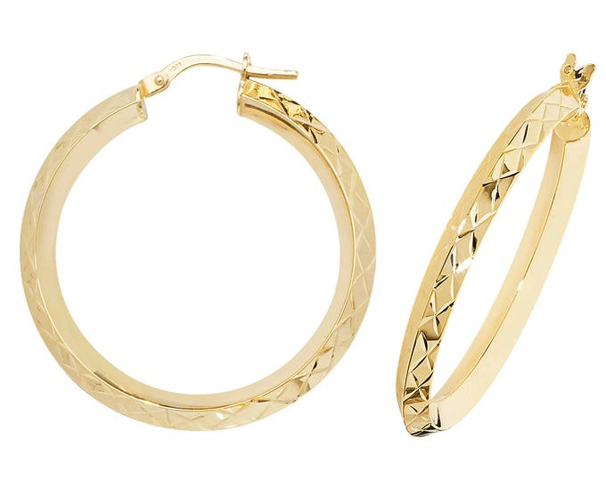 9ct Yellow Gold Diamond Cut Knife Edge Hoop Earrings 10mm 15mm 20mm 25mm 30mm 40mm 50mm 60mm
