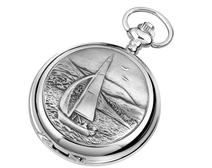 Sailing Personalised Chrome & Pewter Pocket Watch - Customised Engraved Message