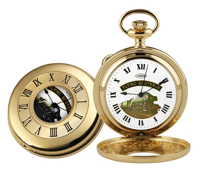 Flying Scotsman Gold Plated Half Hunter Pocket Watch - Personalised Engraved Message