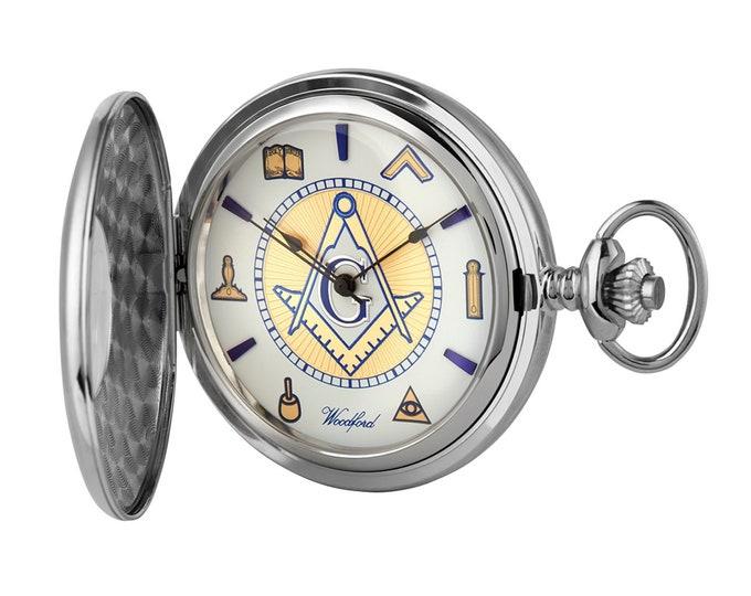 Sterling Silver Masonic Half Hunter Pocket Watch 17 Jewel Movement FREE Engraving