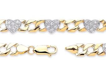 "Baby Cz Hearts Curb Link Bracelet 9ct Yellow Gold 6"" Bracelet Hallmarked"