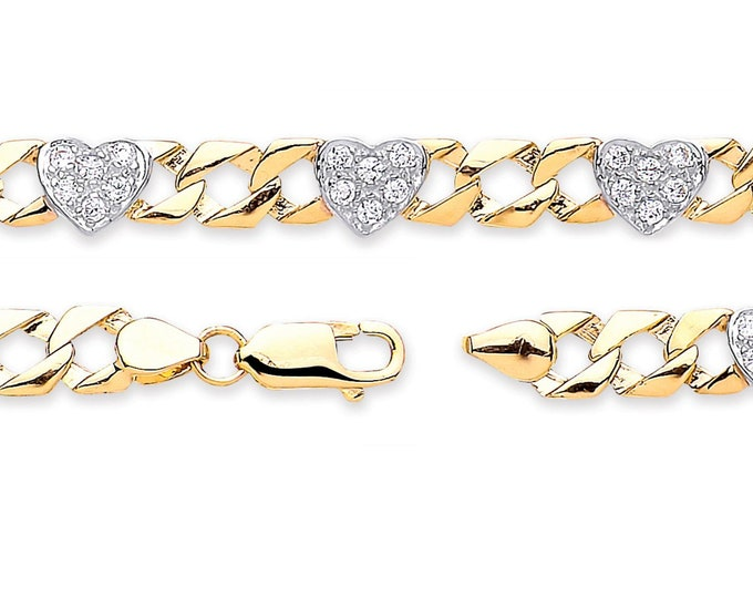 "Baby Cz Hearts Curb Link Bracelet 9ct Yellow Gold 6"" Bracelet Hallmarked"