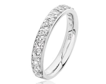 925 Sterling Silver 3.5mm Half Eternity Cz Grain Set Eternity Ring Rhodium Plated