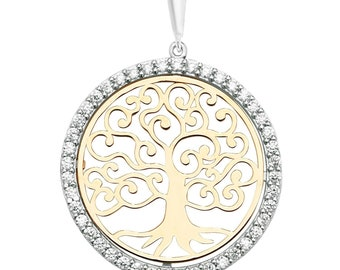 9ct Yellow & White Gold Large 2.4cm Diameter Cz Border Cut Out Tree of Life Pendant