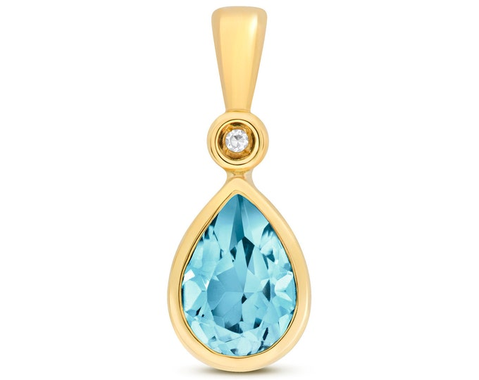 9ct Yellow Gold & Diamond 7x5mm Pear Cut Swiss Blue Topaz Pendant
