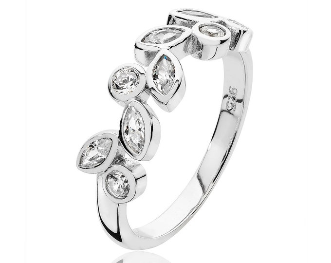 925 Sterling Silver Marquise & Round Cz Wreath Design Ring Rhodium Plated