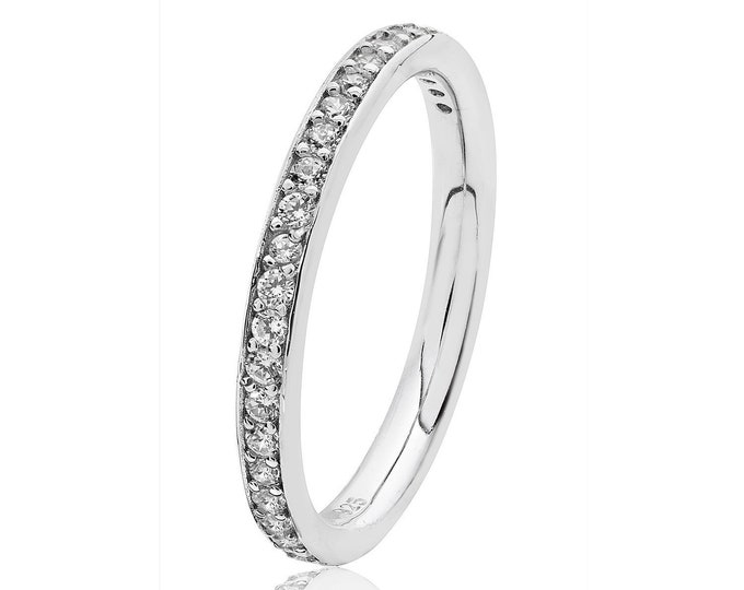 925 Sterling Silver 2.4mm Half Eternity Cz Grain Set Eternity Ring Rhodium Plated