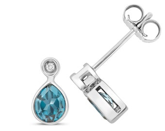 9ct Gold Diamond & Pear Cut 5x4mm London Blue Topaz Stud Earrings