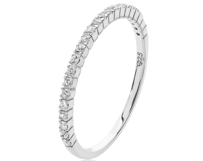 925 Sterling Silver 1.5mm Micro Pave Cz Half Eternity Claw Set Ring Rhodium Plated