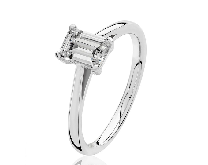 Rhodium Plated 925 Sterling Silver 4 Claw Set 7x5mm Emerald Cut Cz Solitaire Engagement Ring
