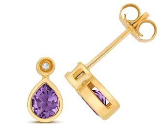 9ct Gold Diamond & Pear Cut 5x4mm Purple Amethyst Stud Earrings - Real 9K Gold