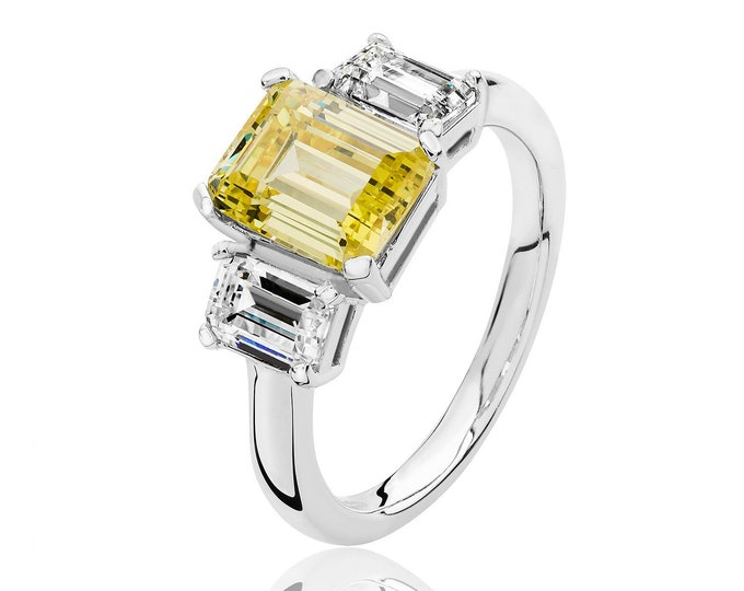 Rhodium Plated 925 Sterling Silver Claw Set Trilogy Yellow Emerald Cut Cz Engagment Ring