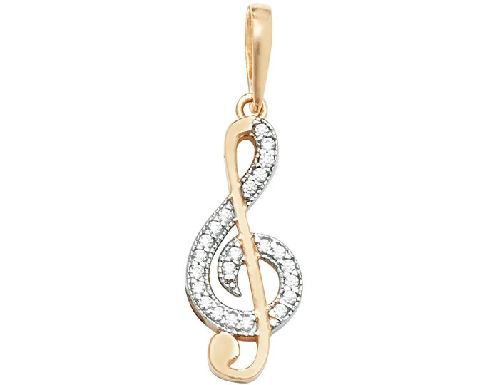 9ct Yellow Gold Pave Cz Treble Clef Music Note Pendant Hallmarked