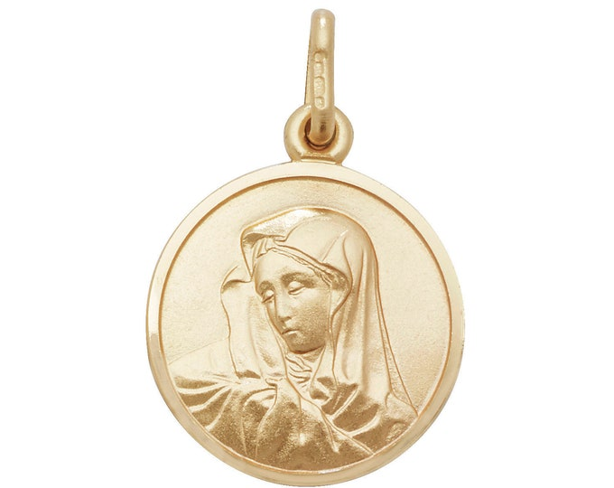 Solid 9ct Yellow Gold 1.5cm Round Madonna Medallion Charm Pendant Hallmarked