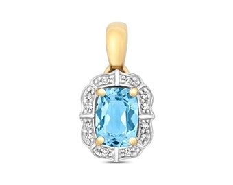 9ct Gold Vintage Design 7x5mm Cushion Cut Light Swiss Blue Topaz & Pave Diamond Pendant - Real 9K Gold