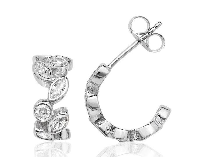 Sterling Silver 15mm Marquise Cz Half Hoop Wreath Stud Earrings