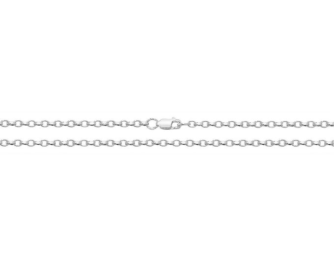 "Rhodium Plated 925 Sterling Silver Diamond Cut Faceted Belcher Chain 16"" 18"" 20"""