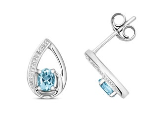 9ct White Gold & Diamond 9x6mm Pear Cut 0.29ct Aquamarine Stud Earrings - Real 9K Gold