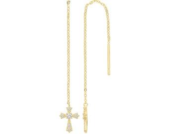 9ct Yellow Gold Cz Cross Threader Chain Long Drop Earrings