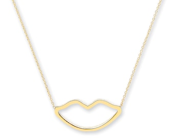 "9ct Yellow Gold Cut Out Lips Pendant on Adjustable 16""-18"" Rolo Chain Necklace- Solid 9K Gold"