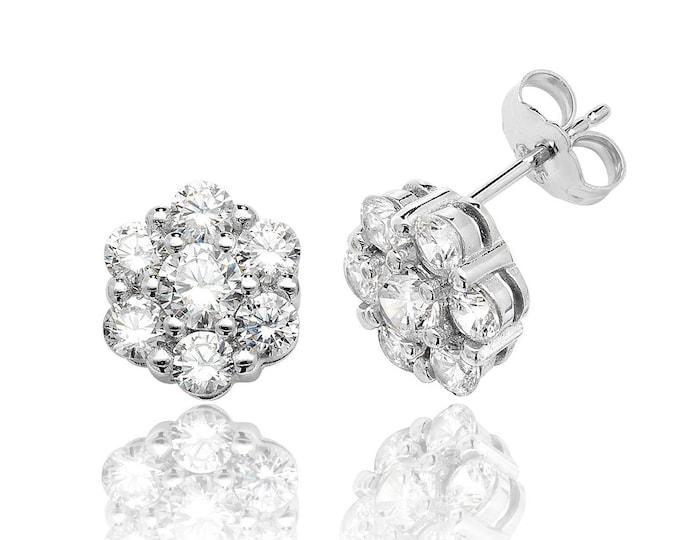 Look of Diamond 925 Sterling Silver Cz 6mm Cluster Stud Earrings