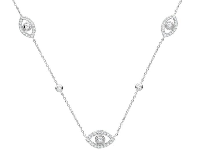"""Evil Eye Pave Set Cz Charm Links 16""""-18"""" Necklace 925 Sterling Silver"""