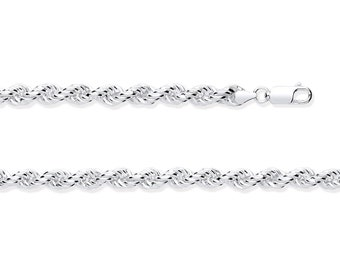 Sterling Silver 6.5mm Wide Chunky Hollow Rope Chain Hallmarked 925