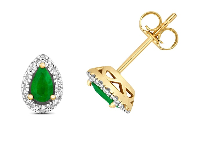 9ct Yellow Gold 5x3mm Pear Cut Emerald Stud Earrings 0.07ct Pave Diamond