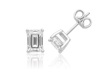Solitaire 7x5mm Emerald Cut Claw Set Stud Earrings Rhodium Plated 925 Sterling Silver With Swarovski Cz