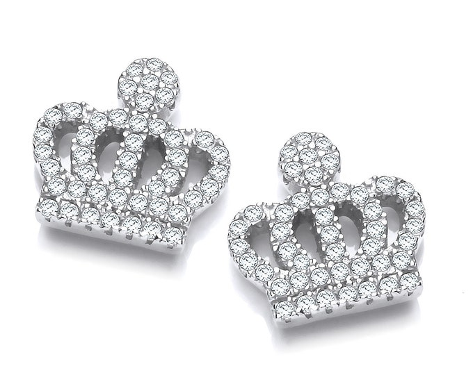 Micro Pave Cz Crown Stud Earrings 925 Sterling Silver Rhodium Plated