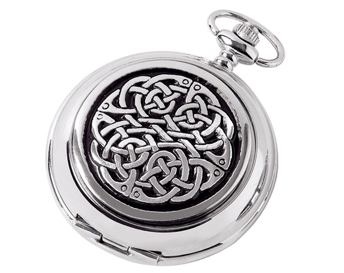 Celtic Knot Personalised Chrome & Pewter Pocket Watch - Customised Engraved Message