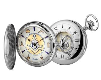 Freemasons Masonic Chrome Half Hunter 17 Jewel Movement Woodford Pocket Watch