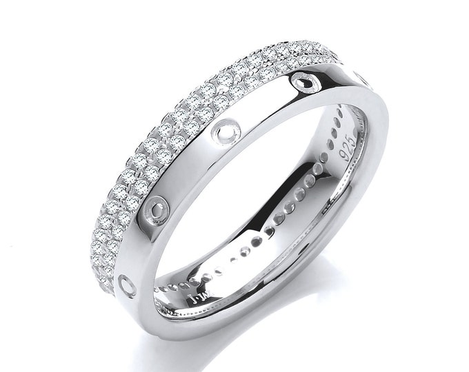 925 Sterling Silver 2 Row Cz Pave Edge Full Eternity 5mm Band Ring