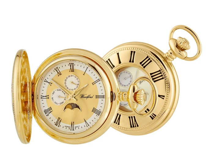 Woodford Gold Plated Quartz Moon Dial Display Half Hunter Pocket Watch - Personalised Message