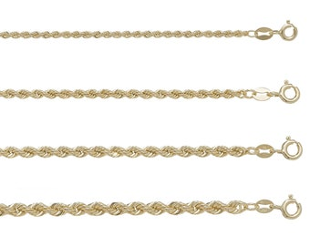 Rope Chains 9ct Yellow Gold Hallmarked Choice of Widths-Choice of Lengths - Real 9K Gold