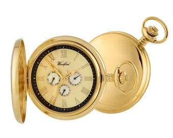 Gold Plated Quartz Date Display Full Hunter Pocket Watch - Personalised Engraved Message