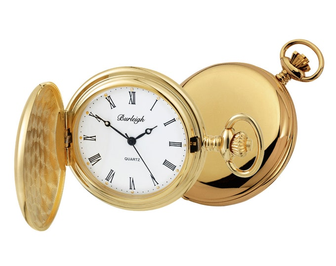 Gold Plated Full Hunter Pocket Watch With Chain & Stand - Personalised Engraved Message