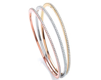 3 Bangle Set in Silver Rose Gold Plated Silver and Gold Plated Silver Cz Claw Set 2mm 925 Sterling Silver Bangles