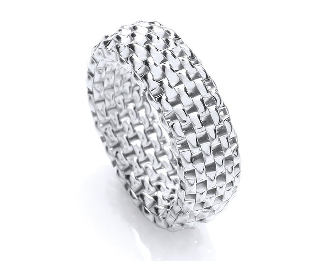 925 Sterling Silver Stretchy Panther Mesh Link Ring Size N-V