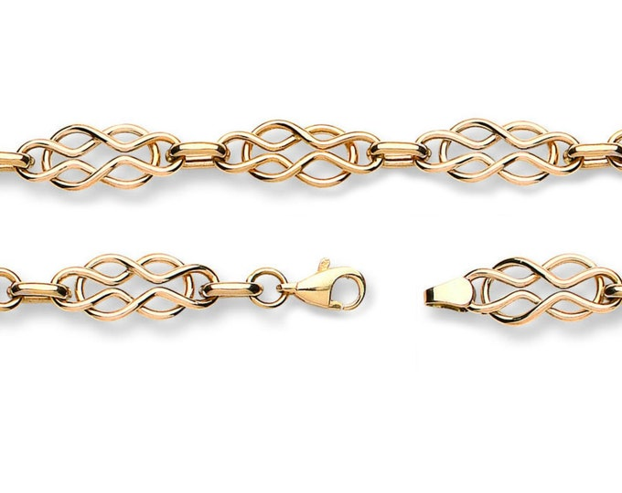 "Hollow Celtic Knot Bracelet Ladies 9ct Yellow Gold 7"" Bracelet Hallmarked"